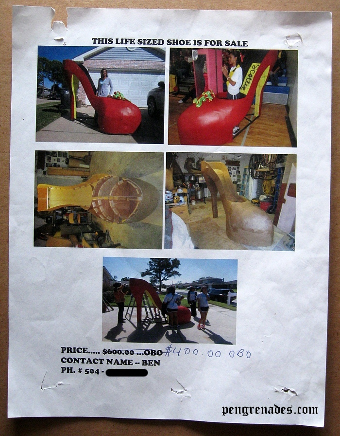 flyer for a giant shoe that is for sale