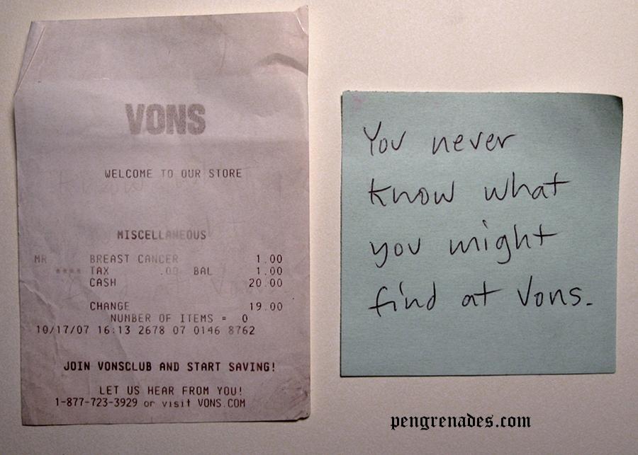 receipt from Von's supermarket