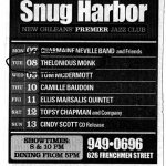 snug harbor nightclub ad