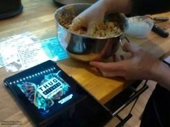 mixing lentil bean balls by hand