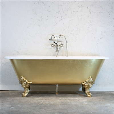 The Balmoral Cast Iron Double Ended Clawfoot Bathtub With A Hand Applied Faux Gold Leaf