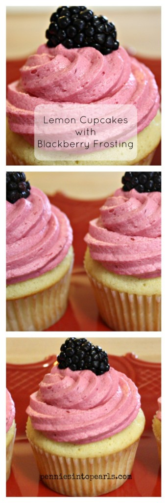 Lemon Cupcakes with Blackberry Frosting Collage