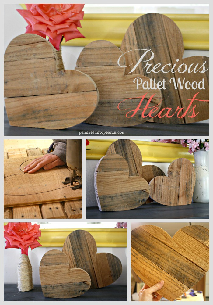 Pallet Wood Hearts - penniesintopearls.com - step by step instructions on how to make your own pallet wood crafts