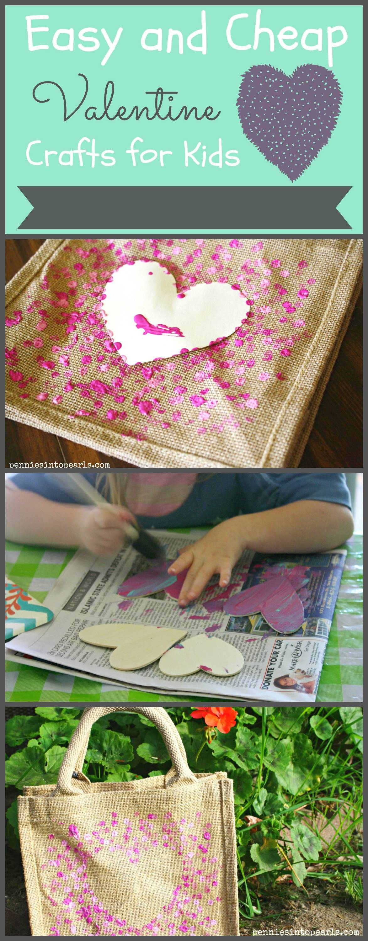 Easy and cheap kids valentine crafts pennies into pearls for Inexpensive crafts for kids