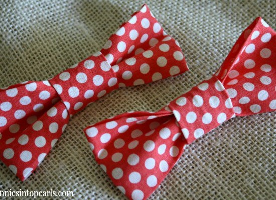 DIY Bow Ties - penniesintopearls.com - How to make a cute bow tie for your little girl, your little man, or for yourself! Quick VIDEO tutorial to show you how to make one yourself in less than 5 minutes!