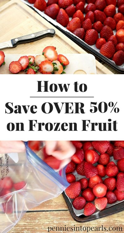 How to freeze fruit so you can save more money on your groceries! This method on how to freeze fruit, saves me over 50% on frozen fruit! Perfect solution on how to freeze strawberries for smoothies!
