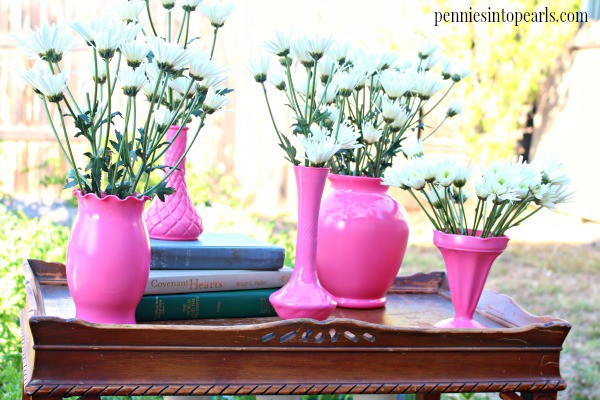 Painted Glass Vases Pin - penniesintopearls.com - Tips on the easiest and cheapest way to get all of your thrift store finds to match. Come see how easy it can be!