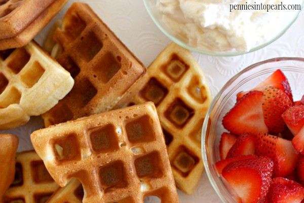 Light and Fluffy Waffles from Scratch - penniesintopearls.com - use this recipe for waffles from scratch to make the very best waffles ever! Way easier then you think and they turn out light and fluffy every time!