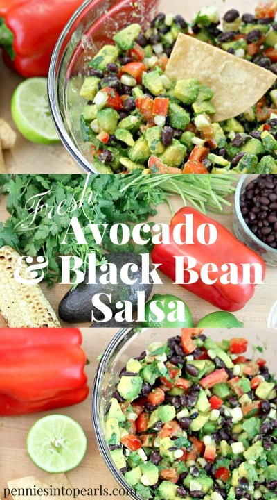 My favorite fresh homemade salsa recipe.Avocado and Black Beans Salsa dump and mix recipe. So quick and easy to make salsa recipe.