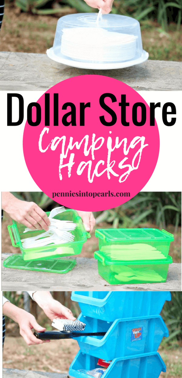 Do you have trouble staying organized while camping? These awesome ideas will help improve your camping experience while sticking to your budget! Check out these simple and fun Dollar Store camping hacks!
