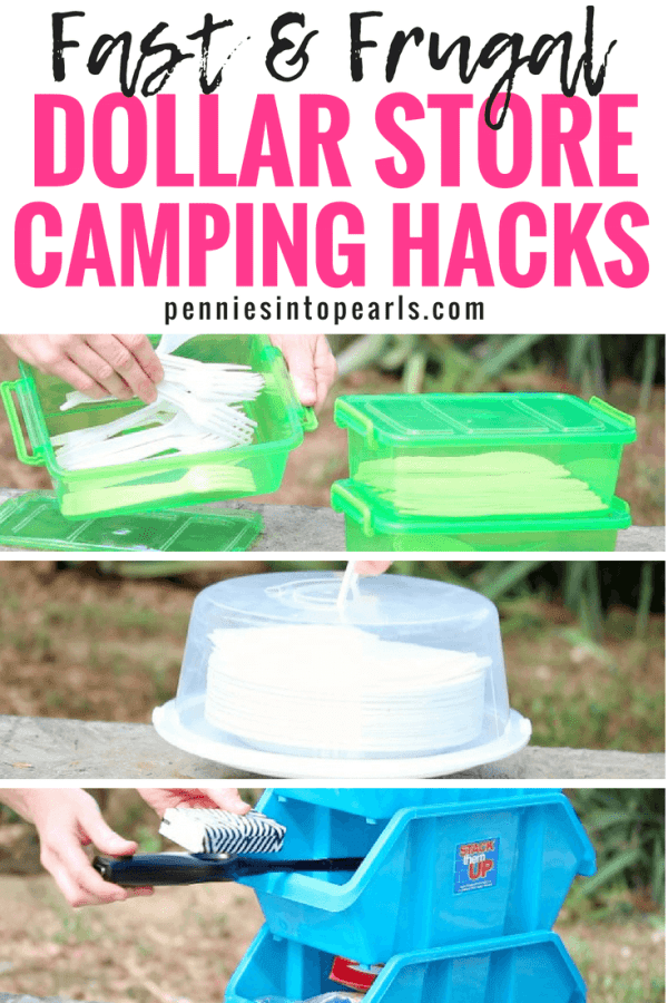 Camping with your kids is a fun and budget friendly way to vacation but you don't want to spend a lot of money on supplies! Give these Dollar Store camping hacks a try on your next camping trip!