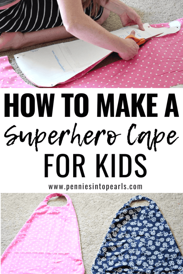 How to make a super easy superhero cape for your kids!  This cheap DIY superhero cape can be made for boys and for girls!  Making this superhero cape for my children was simple and only cost me $2!
