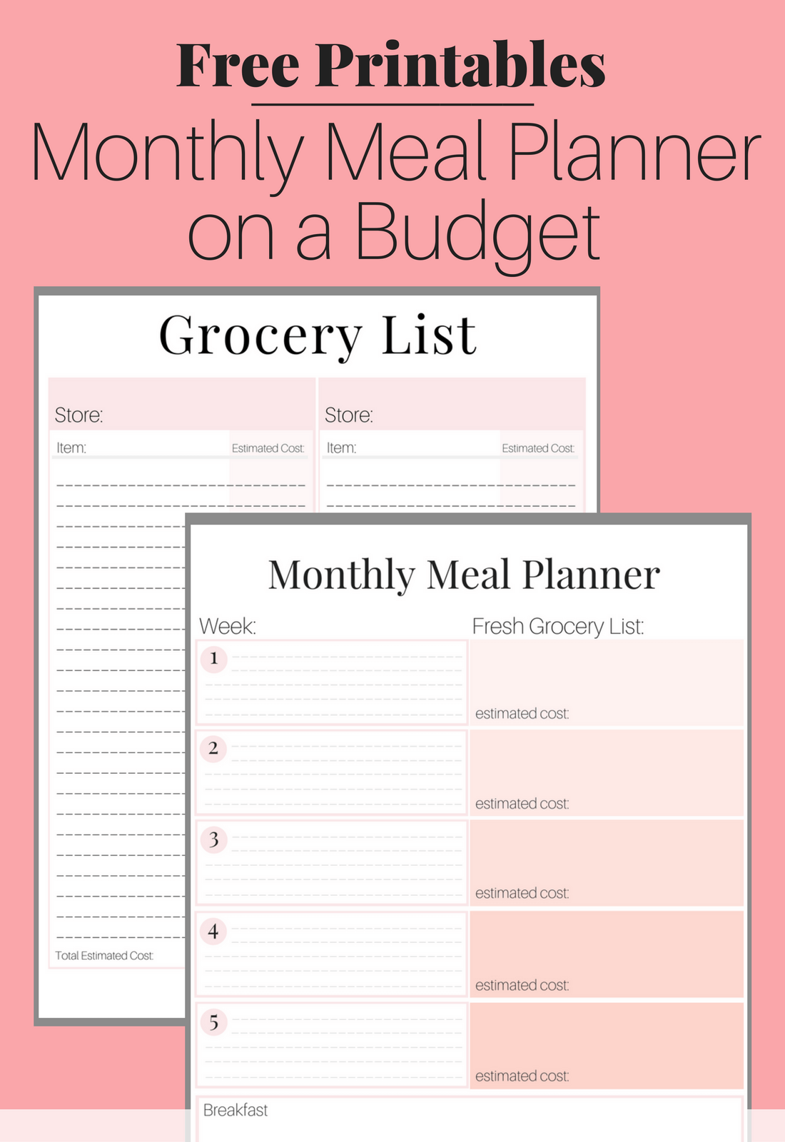 groceries list on a budget