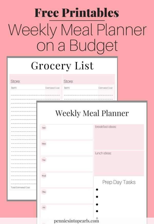 Effortless image inside meal planner printable