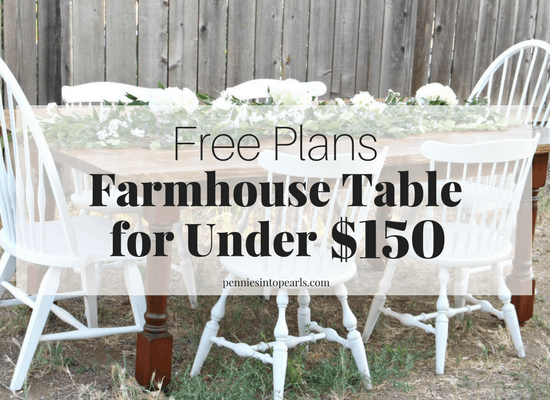 A step-by-step tutorial on how to build a farmhouse table for under $150! This isn't your normal box looking farmhouse table. This is a custom made DIY farmhouse table with curvy legs and a wide plank tabletop. This is the perfect DIY furniture project for anyone including the most basic beginners!