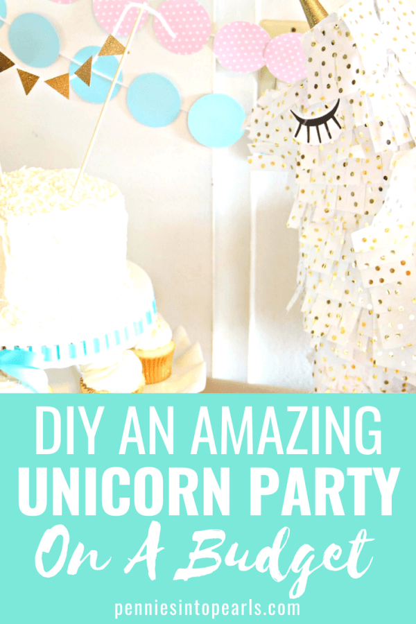 How to plan a fun birthday party without spending a ton of money!  Check out this perfect unicorn party with lots of ideas for DIY party decor, food and even a unicorn pinata!  So many awesome ideas to help you have a great party on a budget!