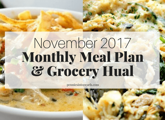 $400 November 2017 Monthly Meal Plan | How to Meal Plan on a Budget