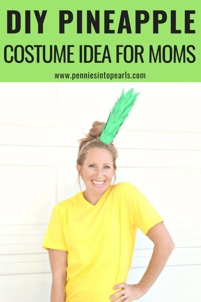 This DIY pineapple costume is exactly what you need if you are in the search of quick costume ideas for moms. Three super quick costume ideas for moms and the bonus is if you don't already have the supplies, you can gather them with a five minute stop at the dollar store!