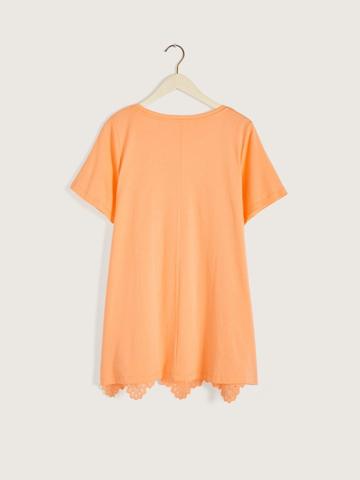 Solid A-Line Top with Eyelet Trim - In Every Story