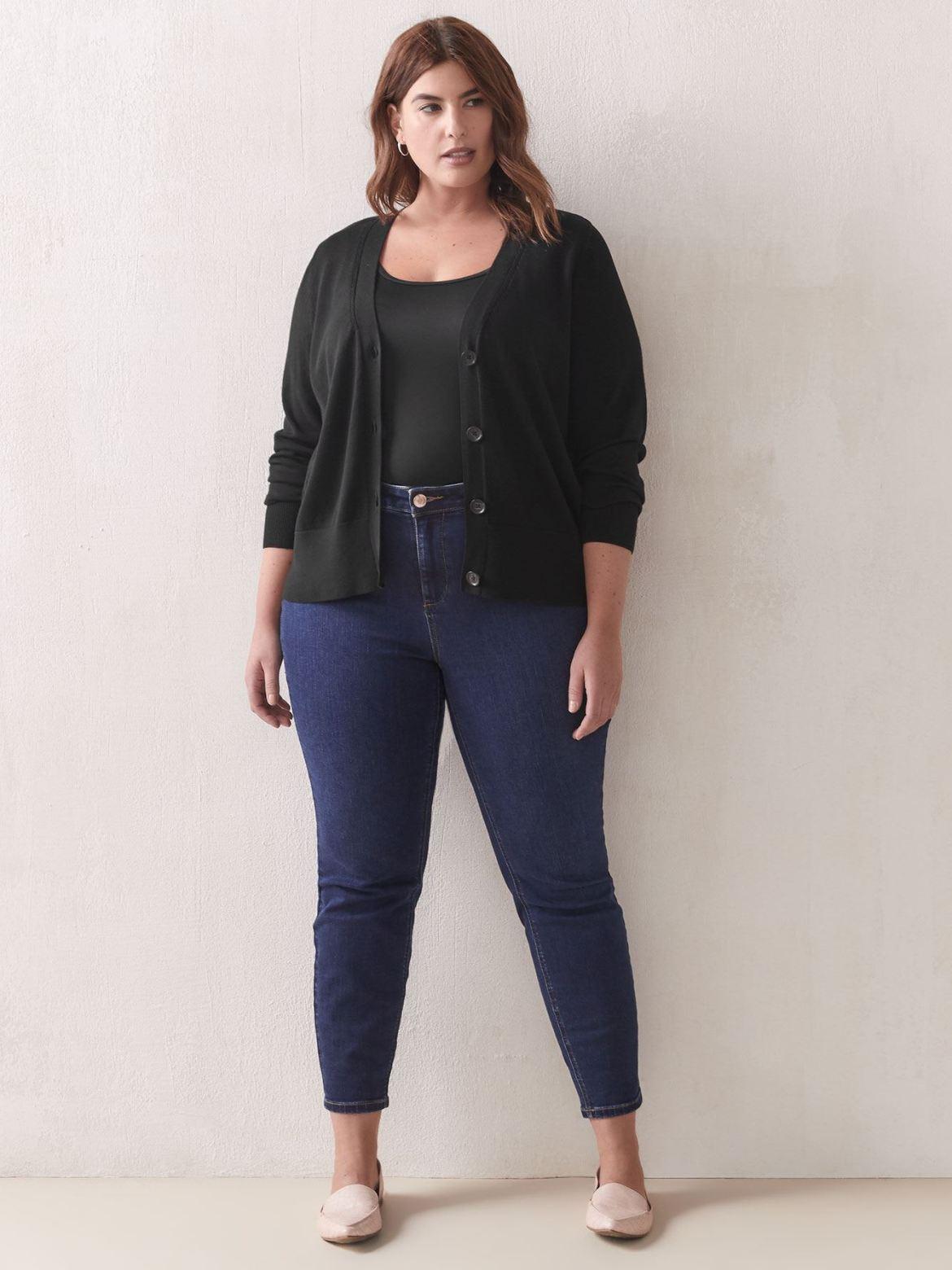 Button-Front Cotton Cardigan - Addition Elle