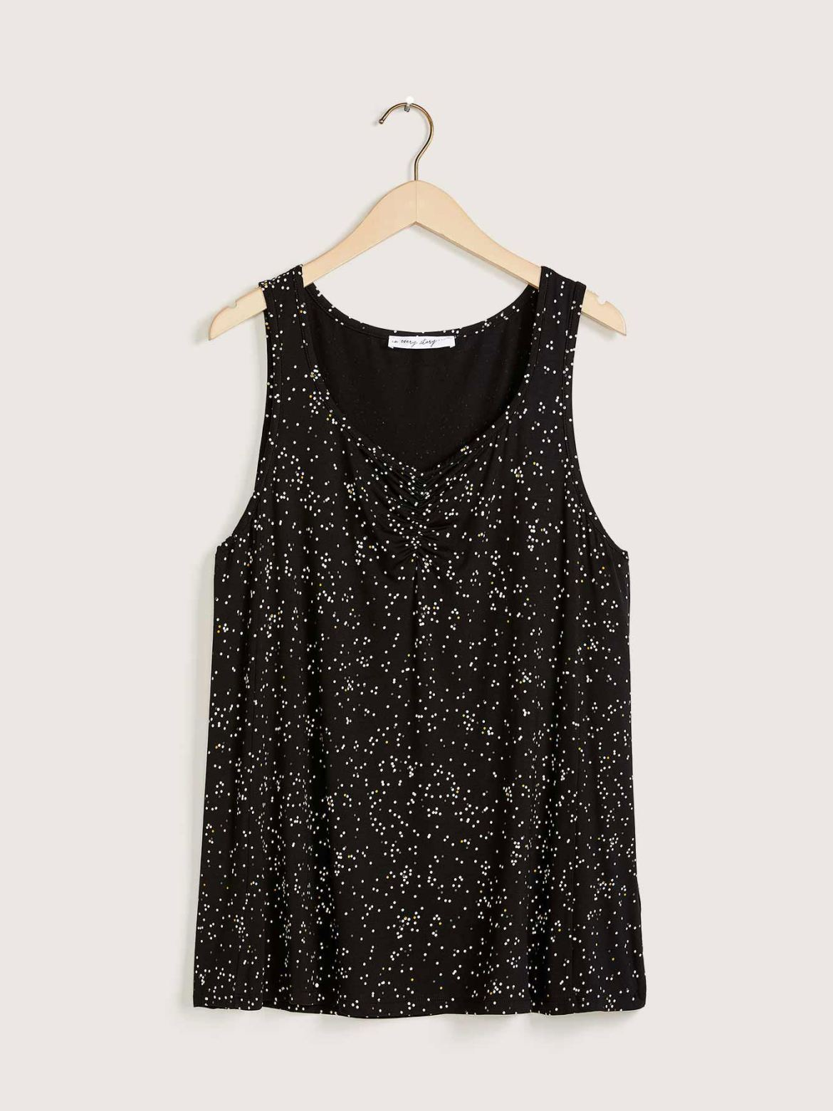 Printed V-Neck Pleated Cami - In Every Story