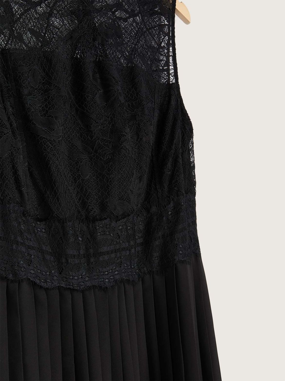 Solid Sleeveless Midi Dress with Lace Bodice - Addition Elle