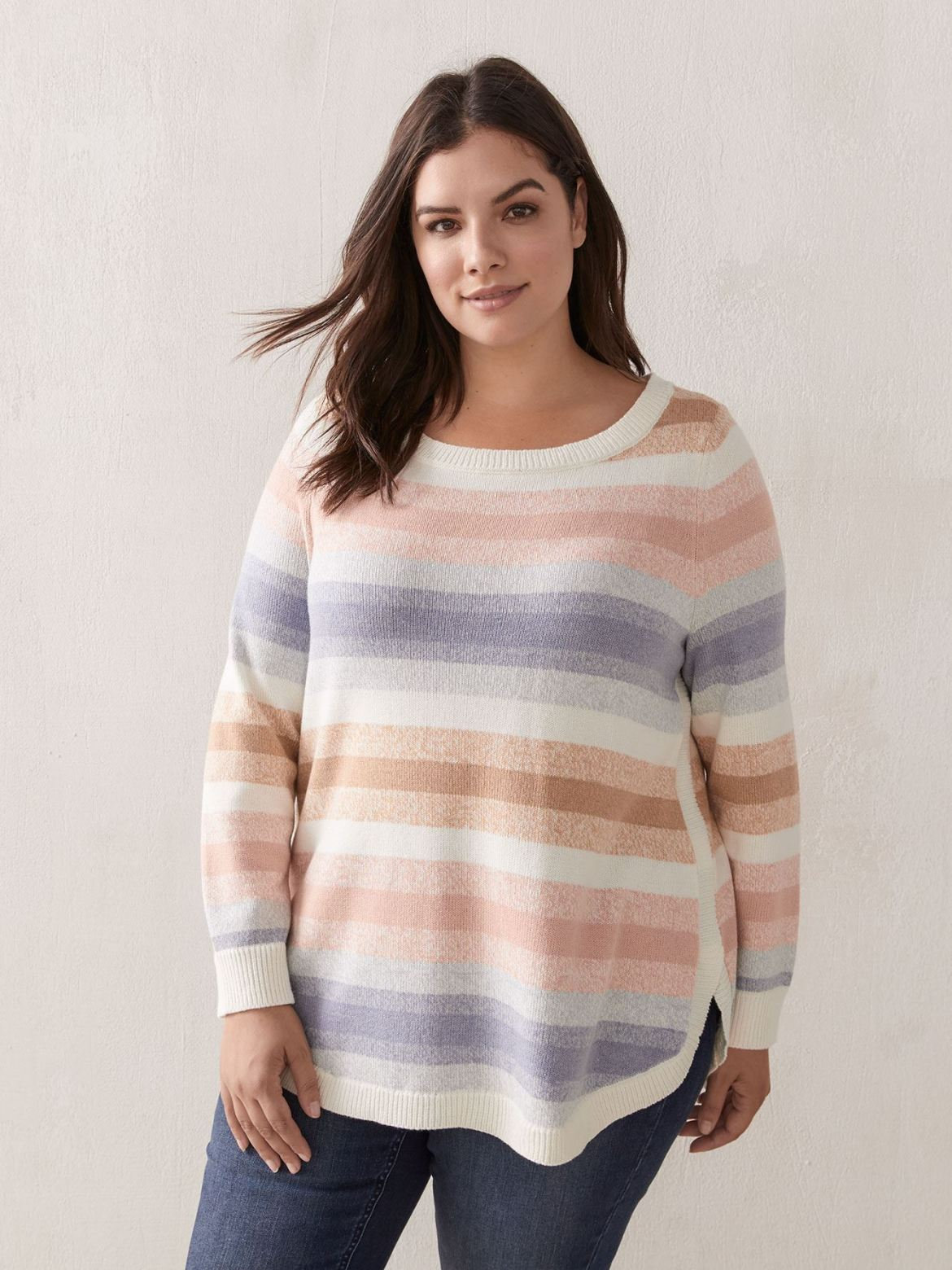 Boat Neck Sweater With Stripes - Addition Elle