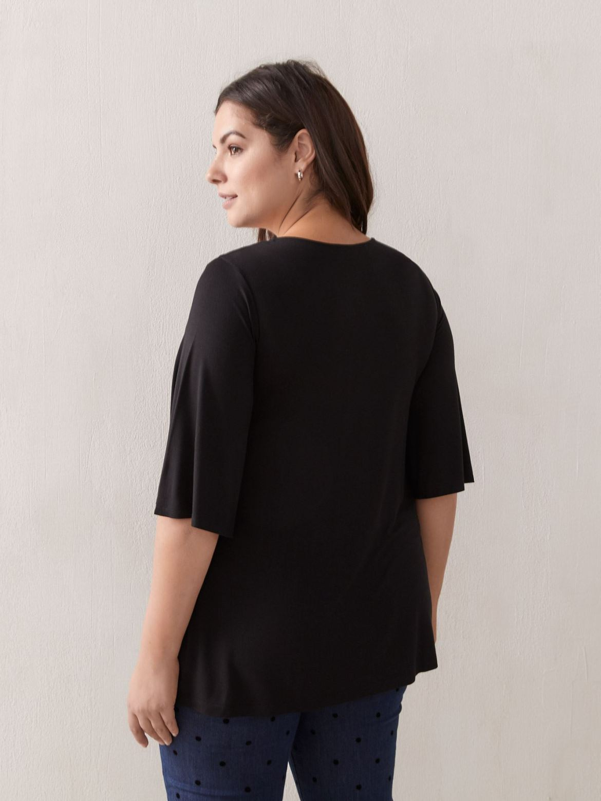 Solid Fluttered Sleeve Top With Studs - In Every Story