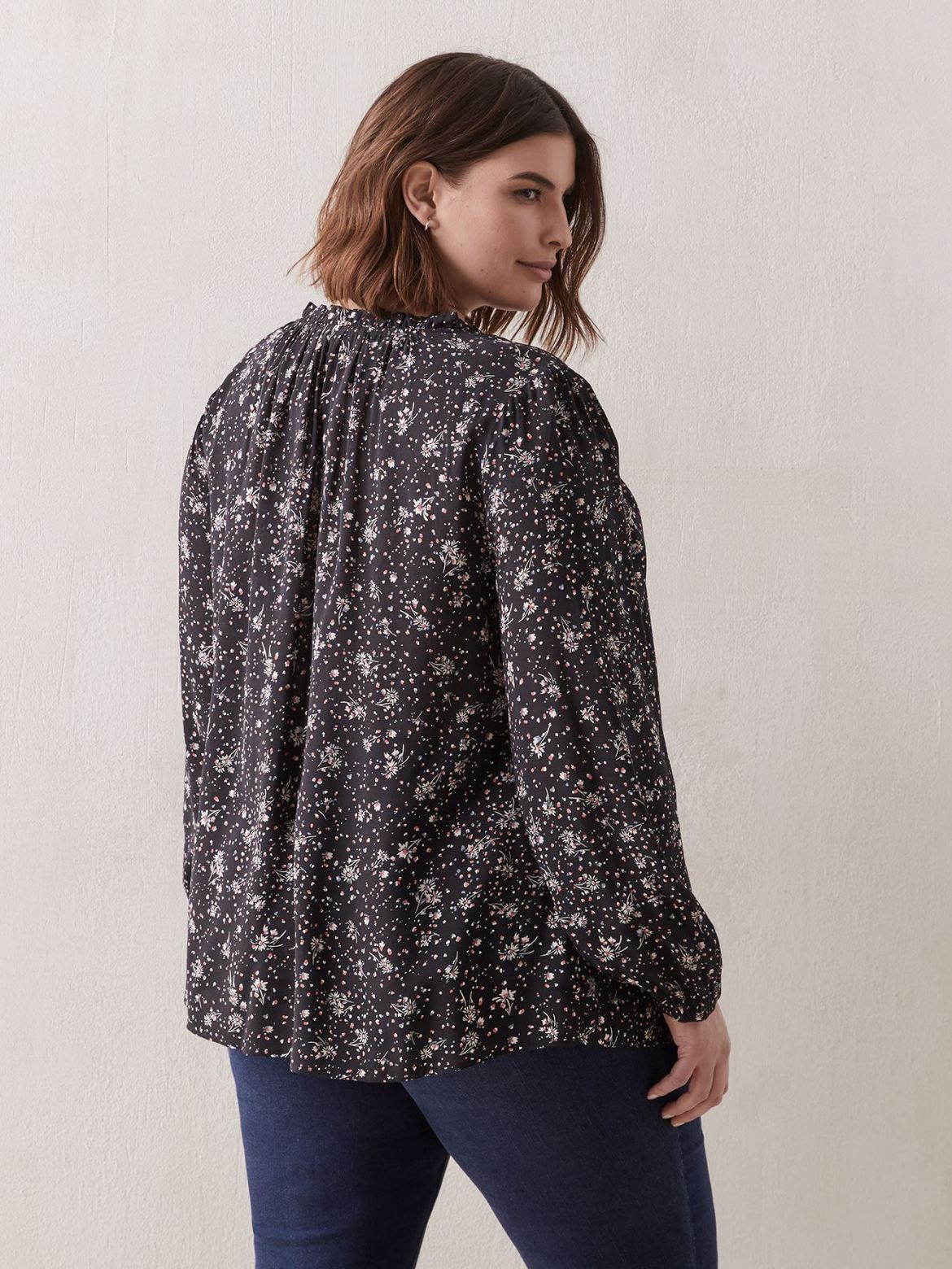 Printed Blouse With Balloon Sleeves - In Every Story