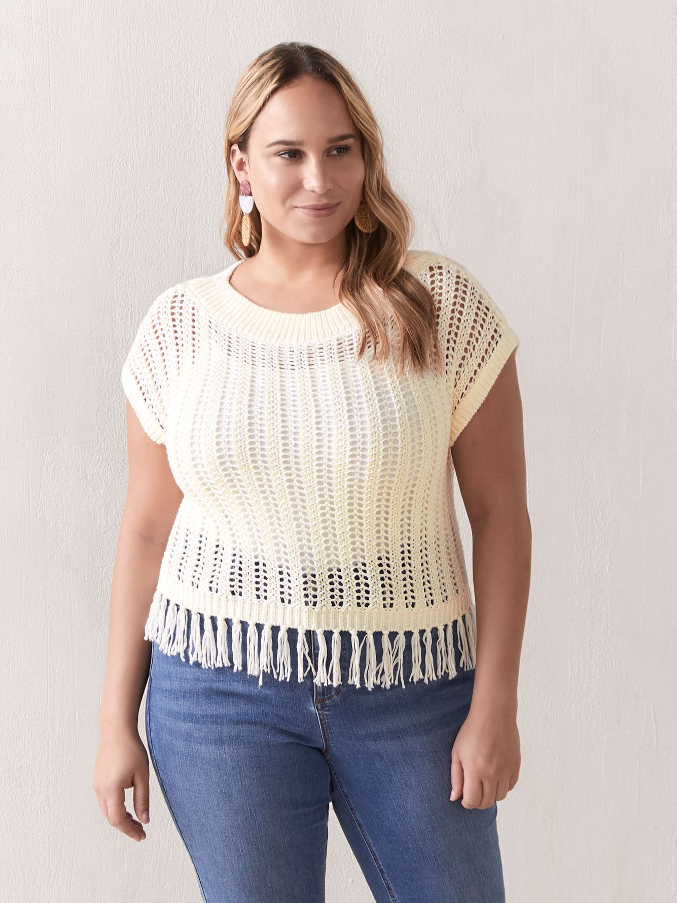 Crochet Sweater with Fringed Hem - Addition Elle 2