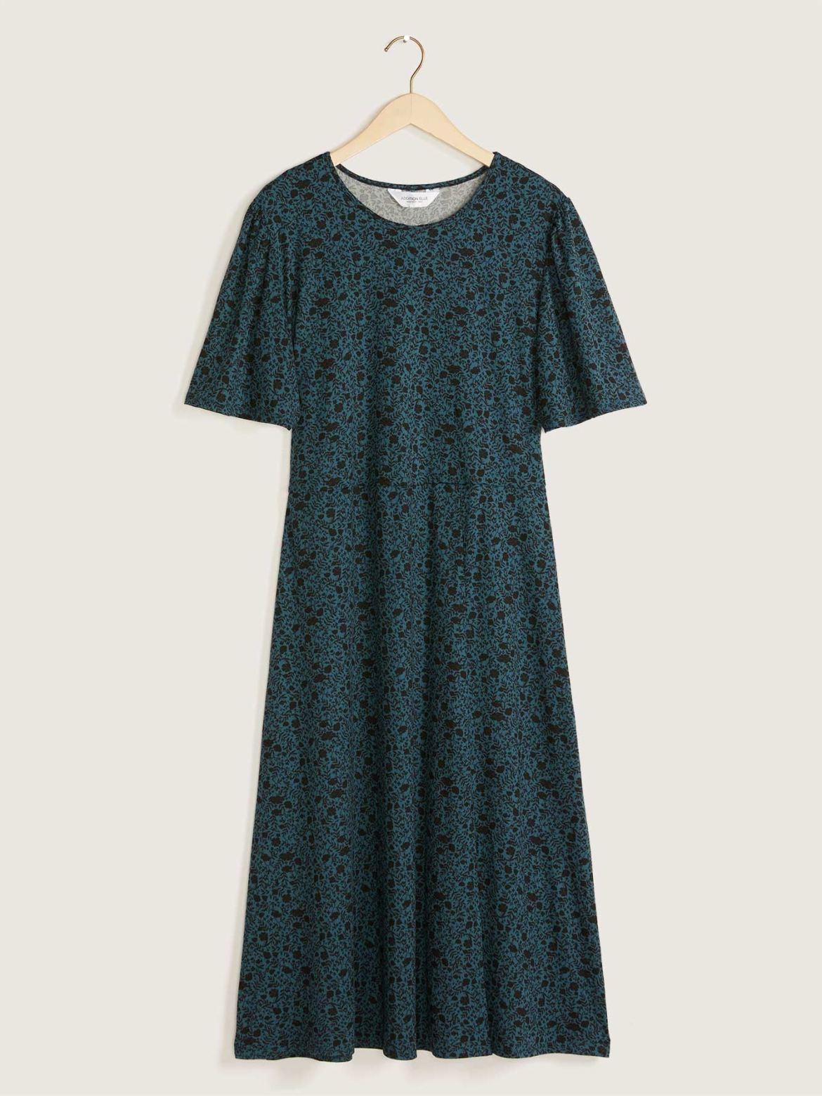 Printed Short Sleeve Midi Dress with Front Slit - Addition Elle