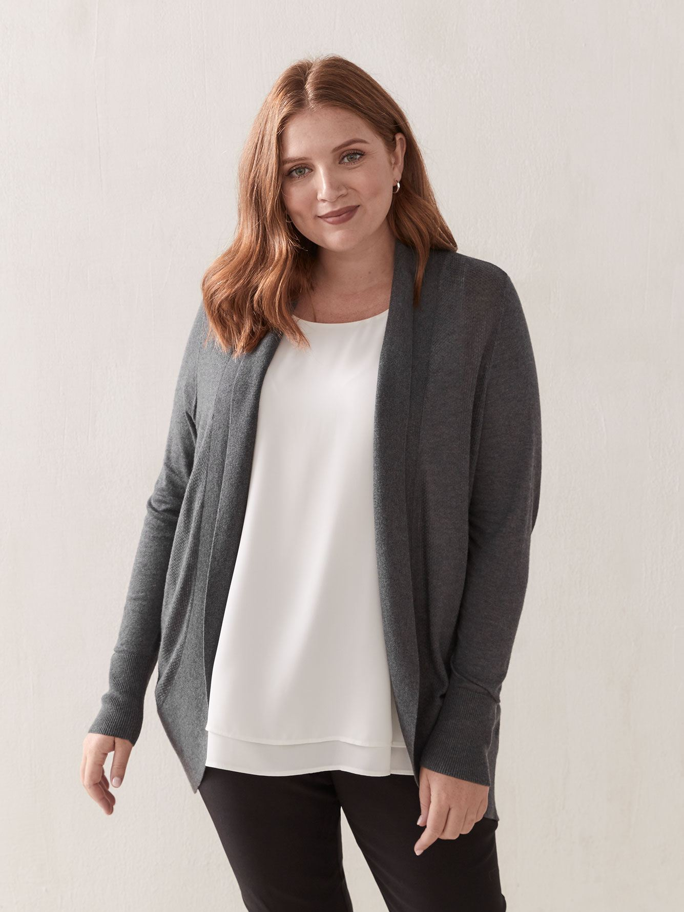 Open Knitted Cardigan with Shawl Collar - Addition Elle 13