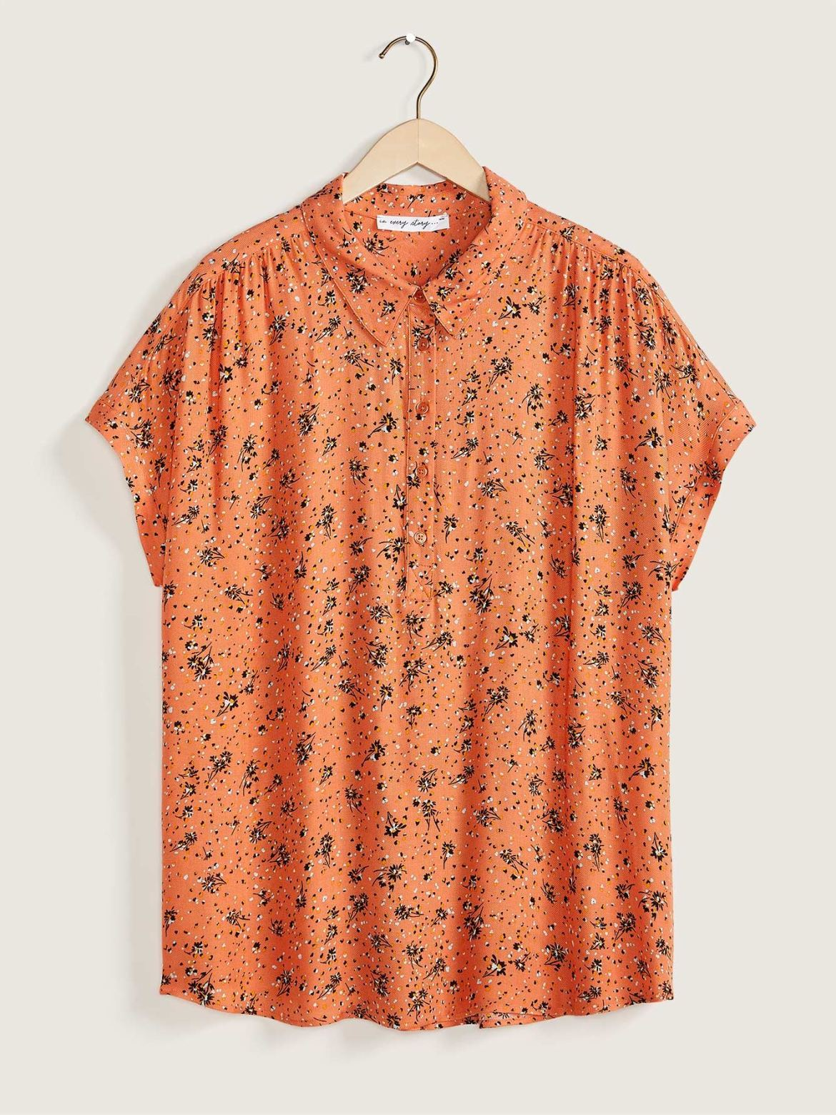 Short Dolman Sleeve Blouse, Printed - In Every Story