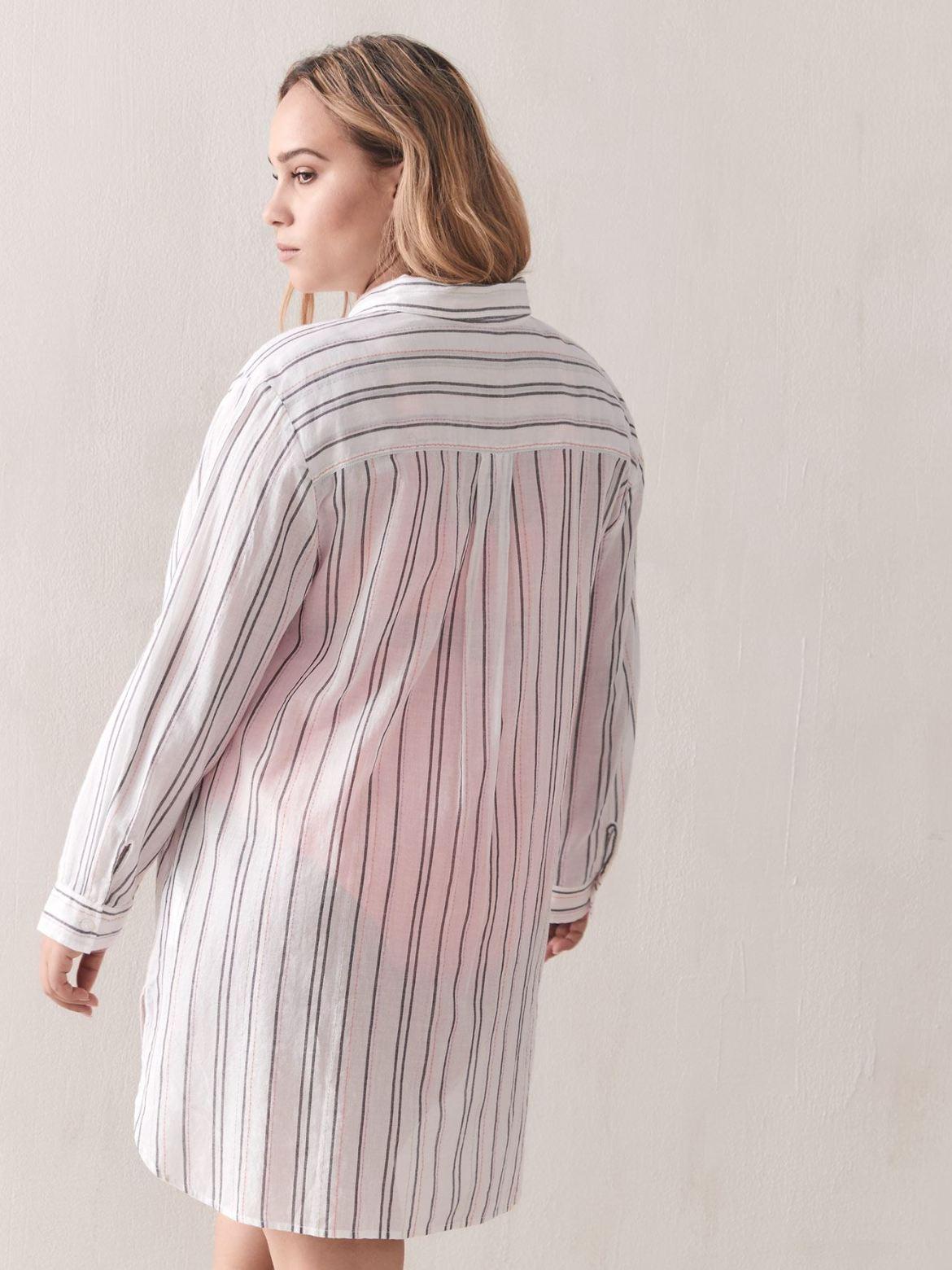 Striped Button-Down Swim Cover-Up - Addition Elle