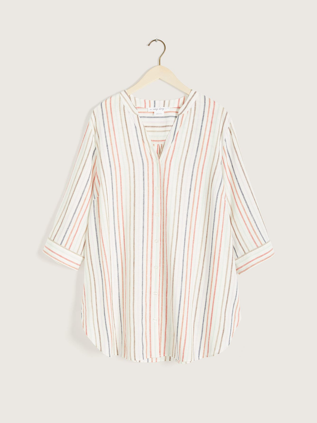 Striped Button-Down 3/4 Sleeve Blouse - In Every Story 7