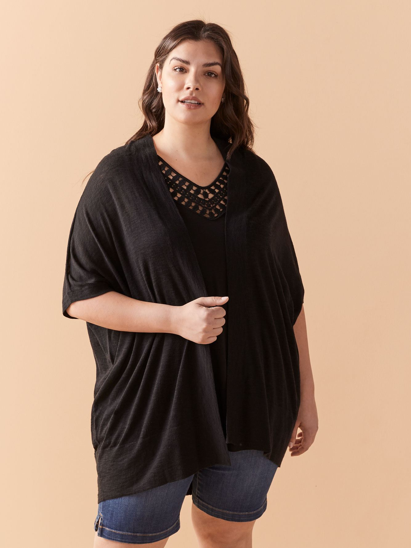 Colorblock Marled Mesh Plus Size Pullover Sweater 3