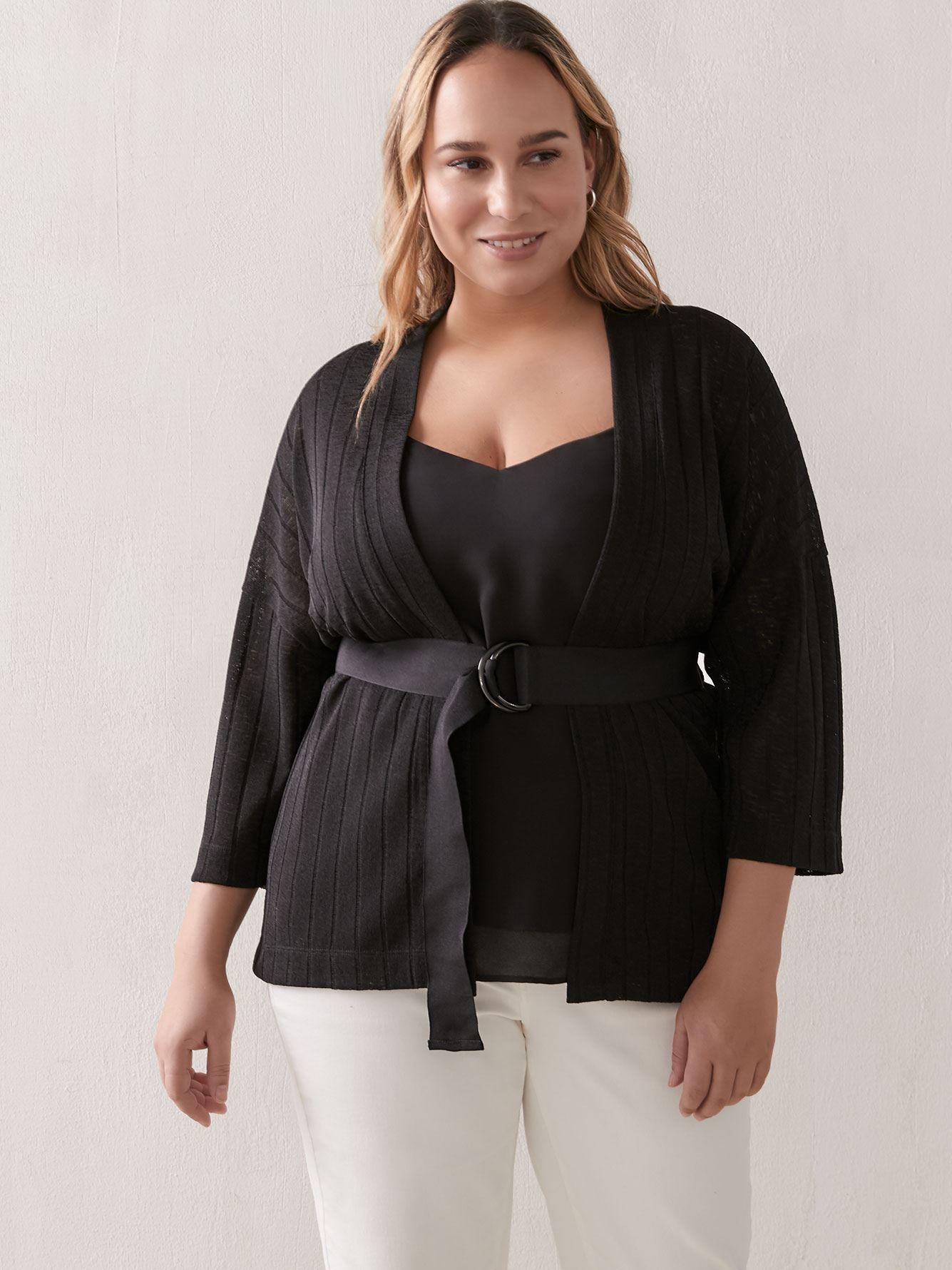Wide-Sleeve Belted Cardigan - Addition Elle 2