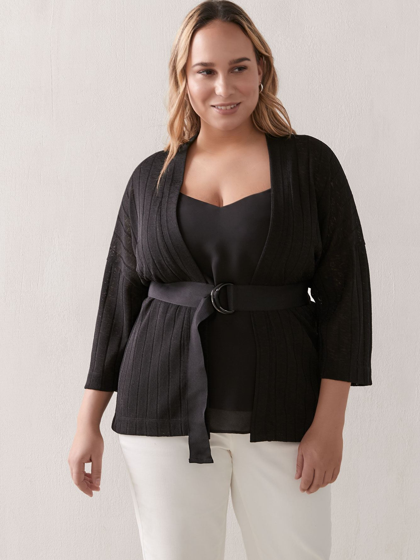 Wide-Sleeve Belted Cardigan - Addition Elle 6
