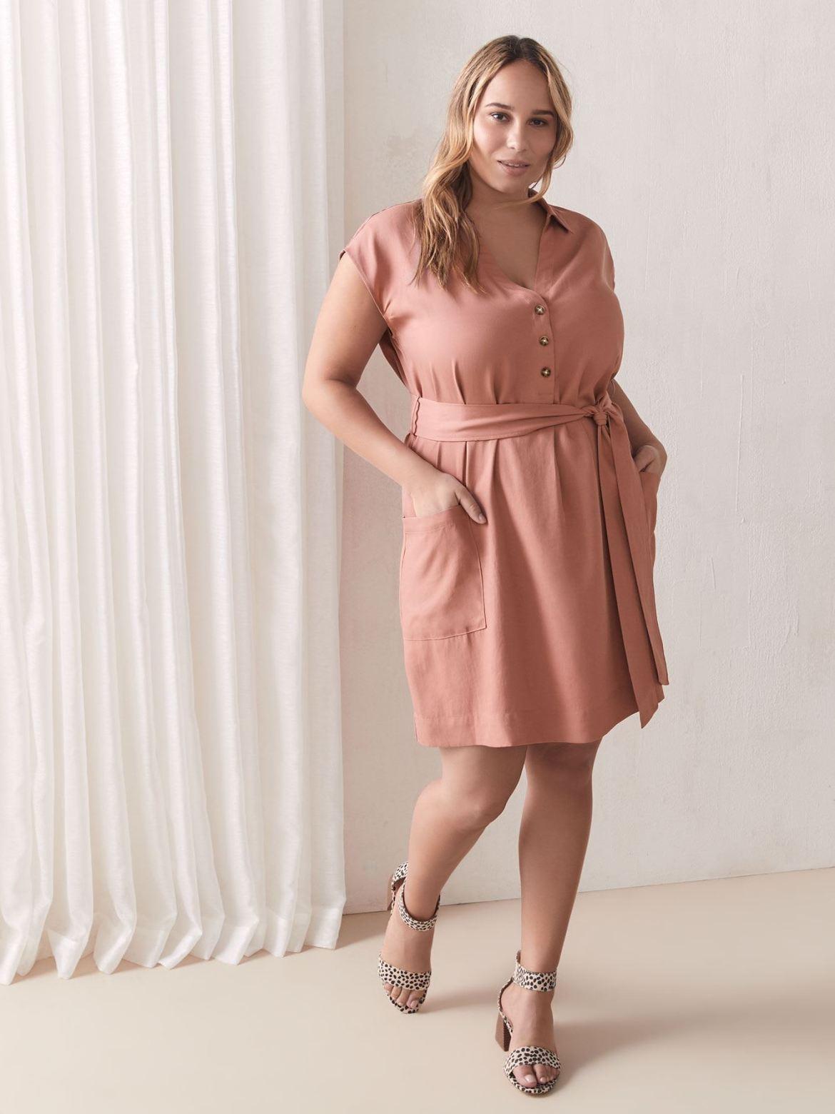 Solid Belted Dolman Sleeve Cupro Dress - Addition Elle