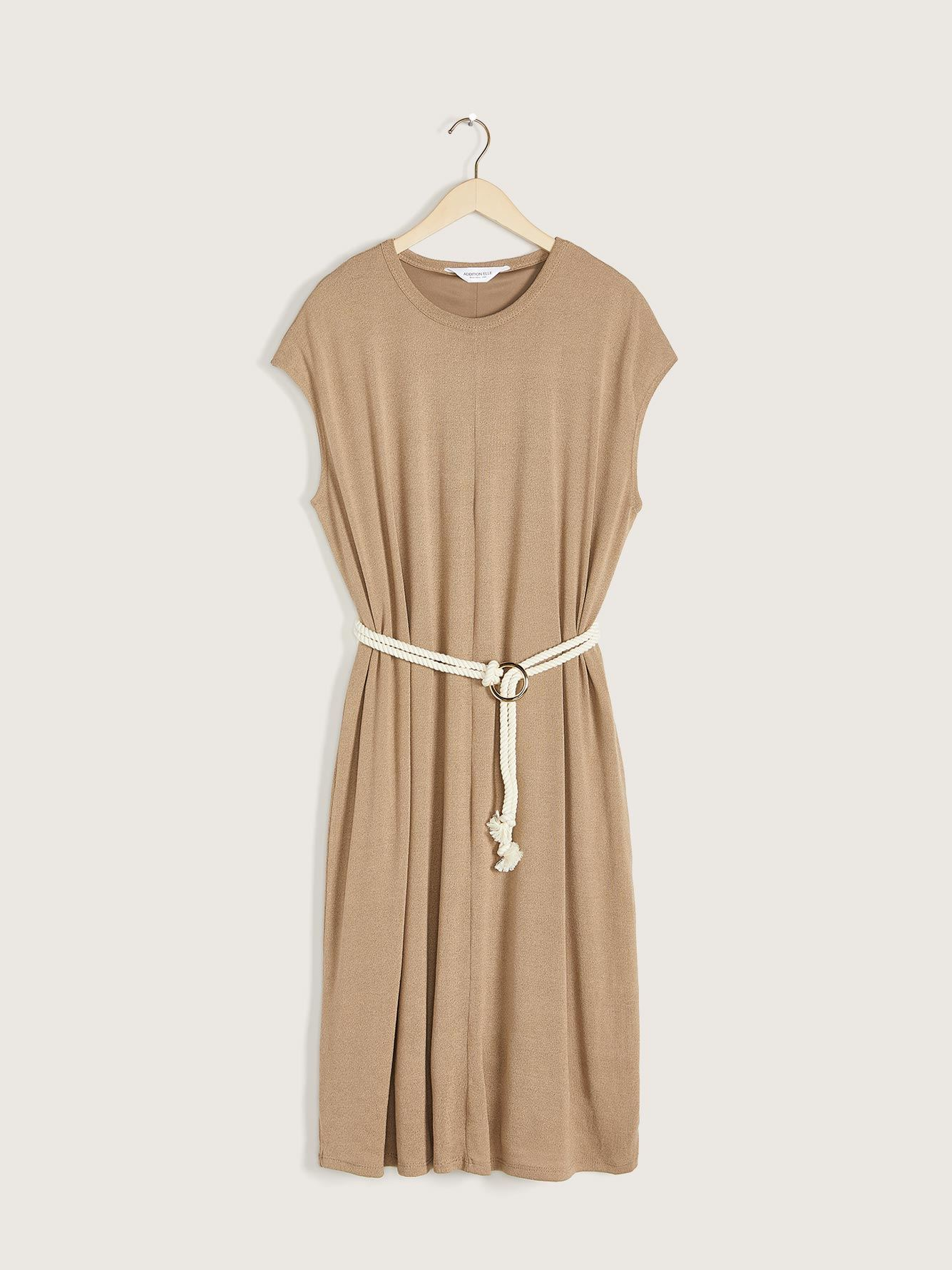 Solid Midi Dress with Rope Belt - Addition Elle 7