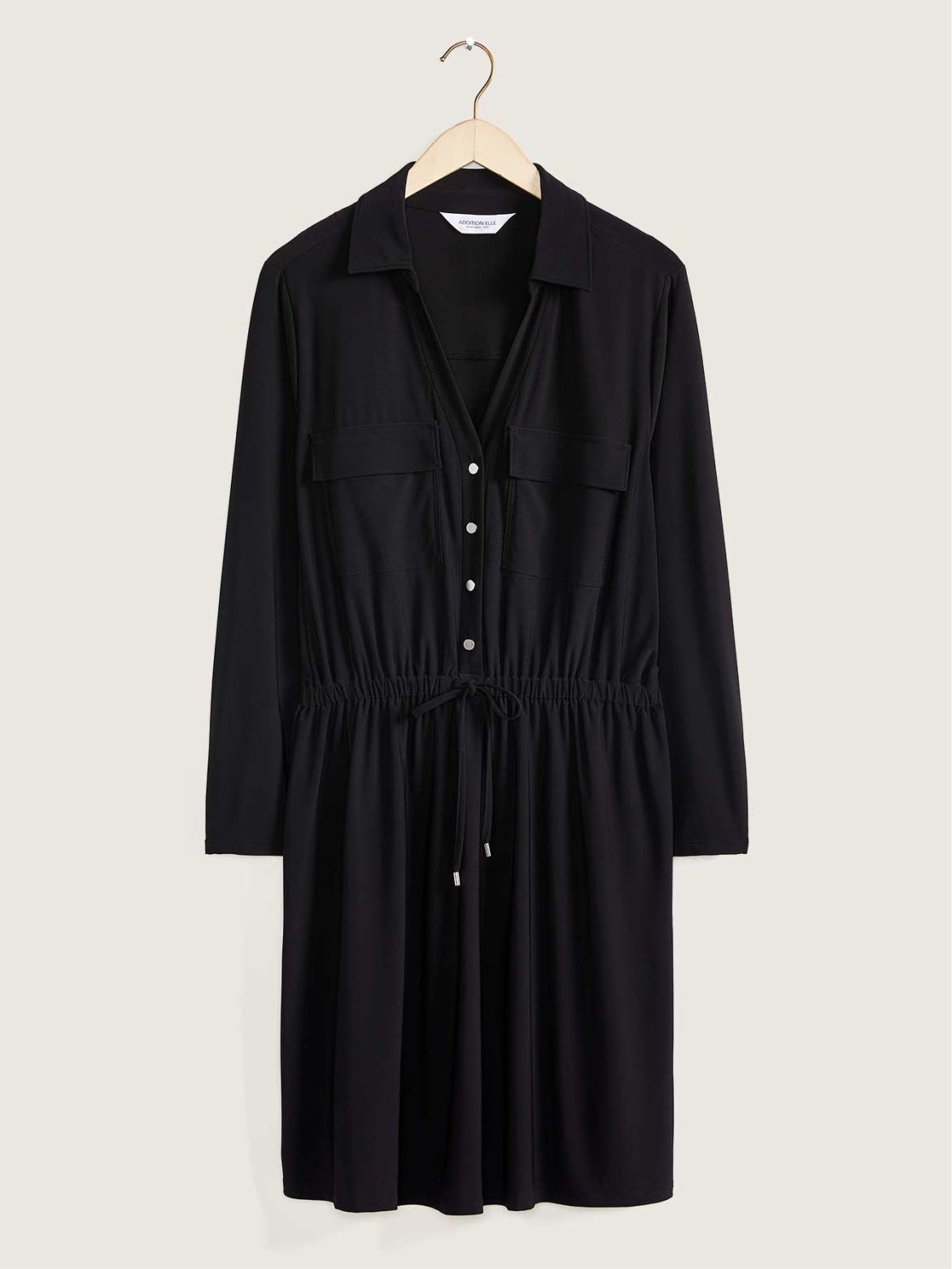 Long-Sleeved Solid Shirt Dress With Front Pockets – Addition Elle