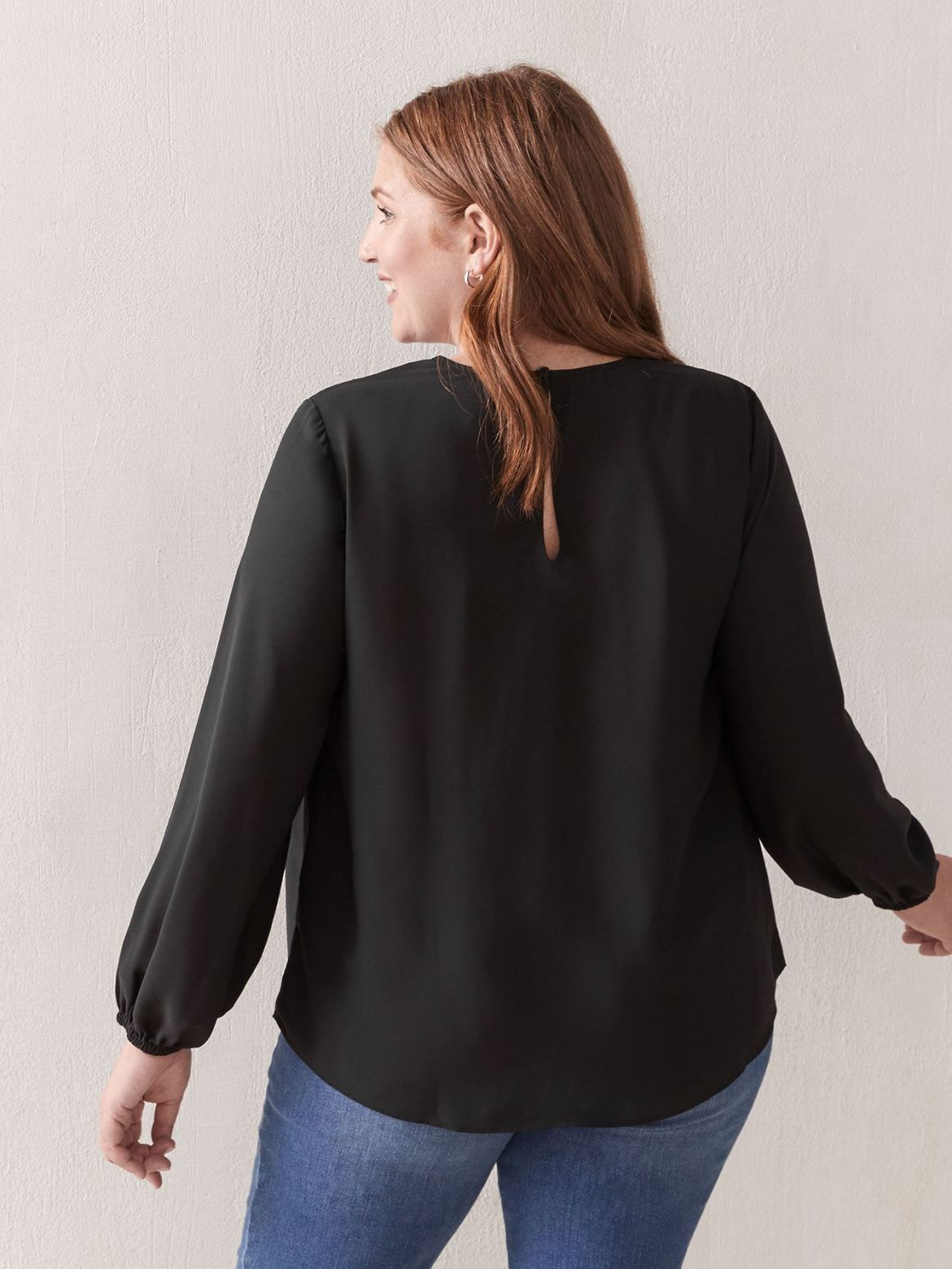 Long Puff Sleeve Pin-Tuck Blouse - Addition Elle