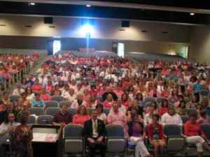Penn Manor staff gathers in the auditorium