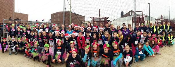 Girls on the Run teams from Central Manor, Pequea, Letort, Eshleman and Hambright Elementary Schools who ran in the Girls on the Run® Winter 5K