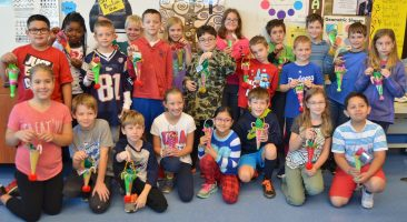 Hambright fourth-graders display their creations.