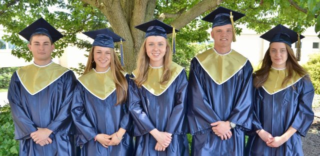 Commencement speakers for the Class of 2017 are, from left, Jordan Martzall, Brooke DeBerdine, Danielle Althouse, Mark Battle and Christine Bye.