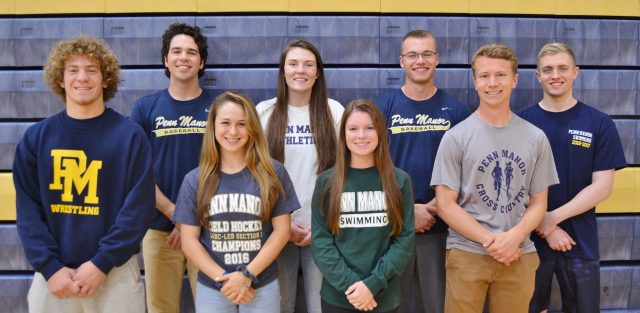 Honored athletes, from left, Jonah Barley, Jeff Taylor, Brooke DeBerdine, Brittany Braun, Amanda DiCamillo, Grant Gale, Malachi Lyon and Jared Byrne.