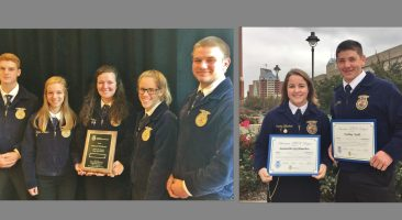 five Manor FFA members who earned a silver medal in poultry judging at the National FFA Convention and Expo