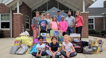 Donated school supplies at Central Manor Elementary.