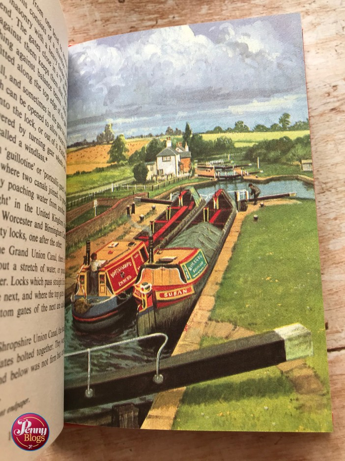 A picture from the Ladybird Book The Story of Our Canals showing tow canal boats in a lock.